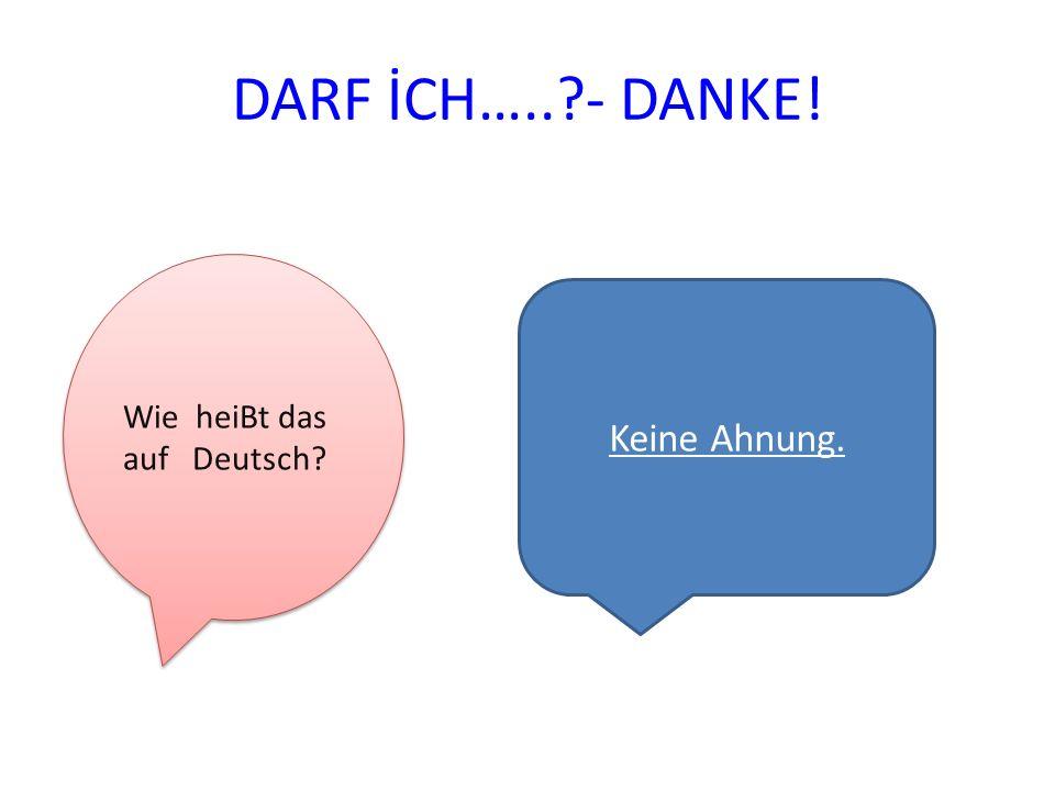 DARF İCH…..?- DANKE! Wie heiBt das auf Deutsch? Keine Ahnung.