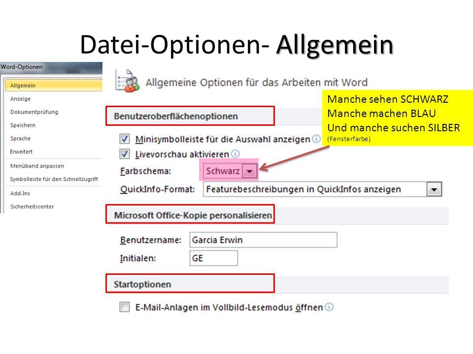 Anzeige Datei- Optionen- Anzeige Inhaltsverzeichnisse automatisch vor dem Druck aktualisieren lassen
