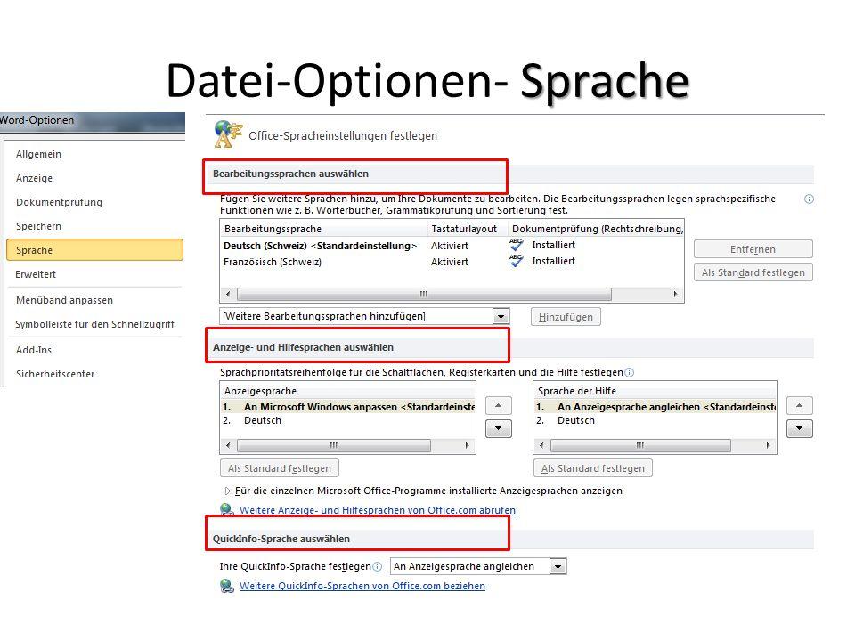 Sprache Datei-Optionen- Sprache