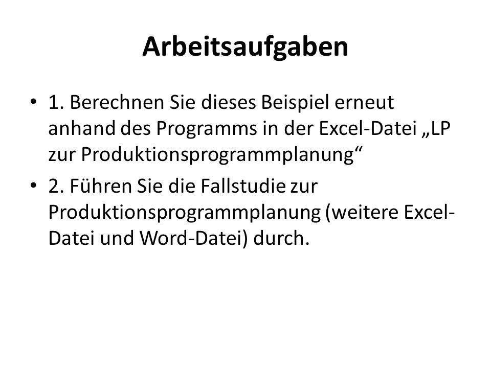 Arbeitsaufgaben 1. Berechnen Sie dieses Beispiel erneut anhand des Programms in der Excel-Datei LP zur Produktionsprogrammplanung 2. Führen Sie die Fa