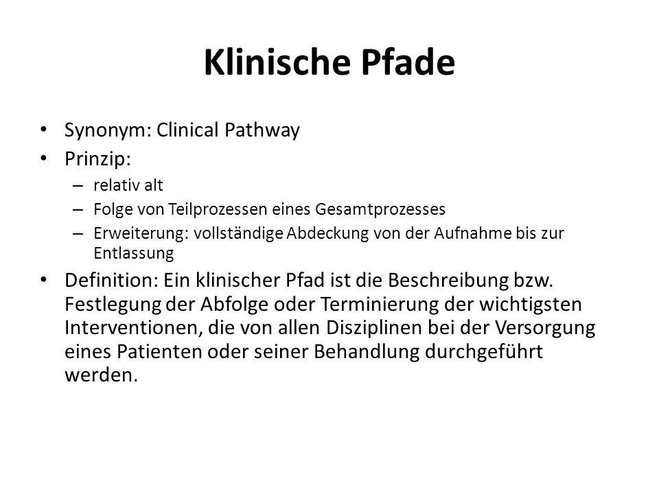 Klinische Pfade Synonym: Clinical Pathway Prinzip: – relativ alt – Folge von Teilprozessen eines Gesamtprozesses – Erweiterung: vollständige Abdeckung