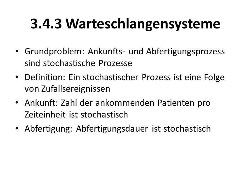 3.4.3 Warteschlangensysteme Grundproblem: Ankunfts- und Abfertigungsprozess sind stochastische Prozesse Definition: Ein stochastischer Prozess ist ein