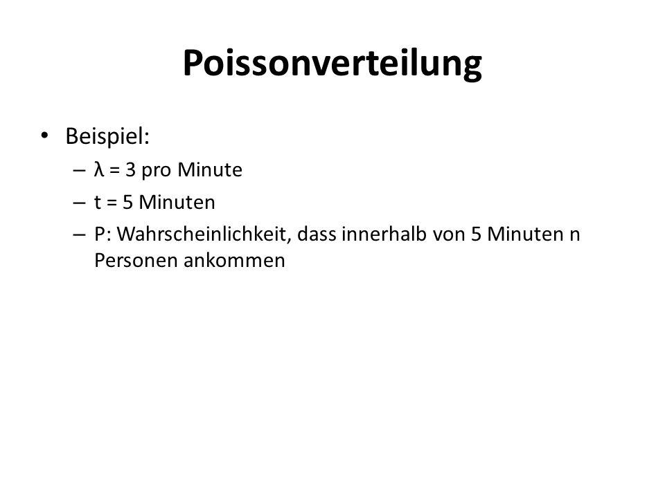 Beispiel: – λ = 3 pro Minute – t = 5 Minuten – P: Wahrscheinlichkeit, dass innerhalb von 5 Minuten n Personen ankommen
