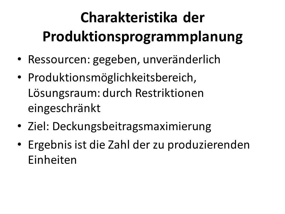 Charakteristika der Produktionsprogrammplanung Ressourcen: gegeben, unveränderlich Produktionsmöglichkeitsbereich, Lösungsraum: durch Restriktionen ei