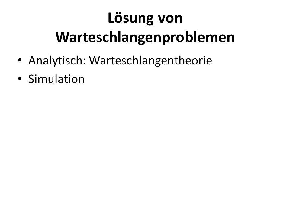 Lösung von Warteschlangenproblemen Analytisch: Warteschlangentheorie Simulation