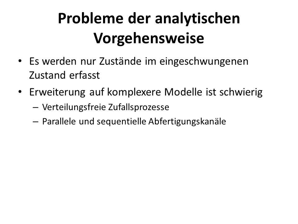 Probleme der analytischen Vorgehensweise Es werden nur Zustände im eingeschwungenen Zustand erfasst Erweiterung auf komplexere Modelle ist schwierig –
