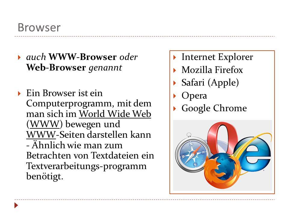 Browser auch WWW-Browser oder Web-Browser genannt Ein Browser ist ein Computerprogramm, mit dem man sich im World Wide Web (WWW) bewegen und WWW-Seite