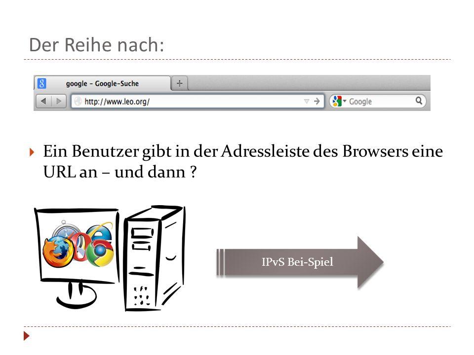 Der Reihe nach: Ein Benutzer gibt in der Adressleiste des Browsers eine URL an – und dann ? IPvS Bei-Spiel
