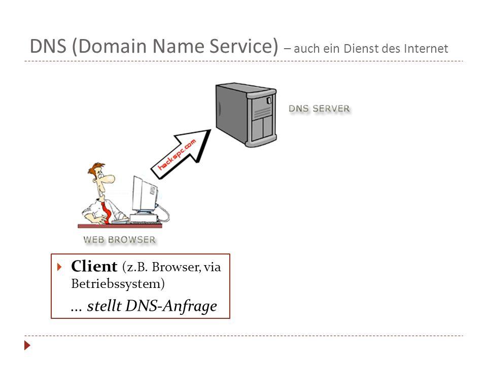 DNS (Domain Name Service) – auch ein Dienst des Internet Client (z.B. Browser, via Betriebssystem)... stellt DNS-Anfrage