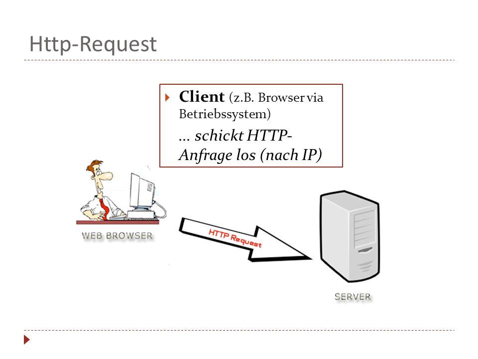 Http-Request Client (z.B. Browser via Betriebssystem)... schickt HTTP- Anfrage los (nach IP)