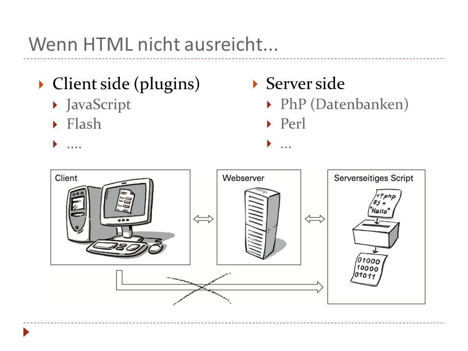 Wenn HTML nicht ausreicht... Client side (plugins) JavaScript Flash.... Server side PhP (Datenbanken) Perl...