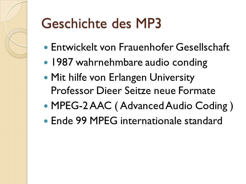Geschichte des MP3 Entwickelt von Frauenhofer Gesellschaft 1987 wahrnehmbare audio conding Mit hilfe von Erlangen University Professor Dieer Seitze ne
