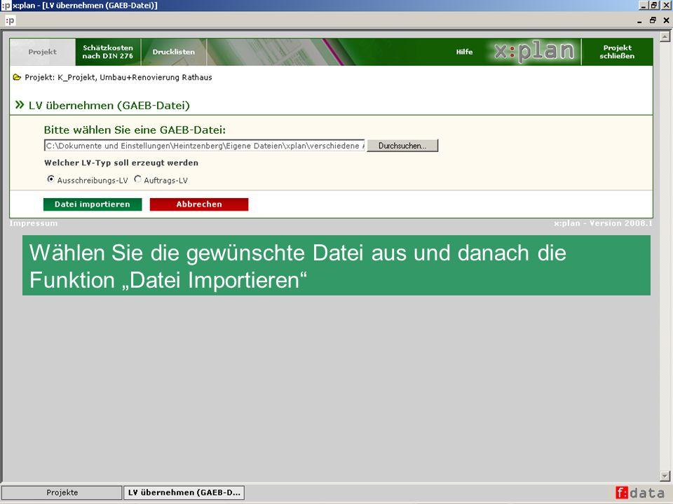 Wählen Sie die gewünschte Datei aus und danach die Funktion Datei Importieren