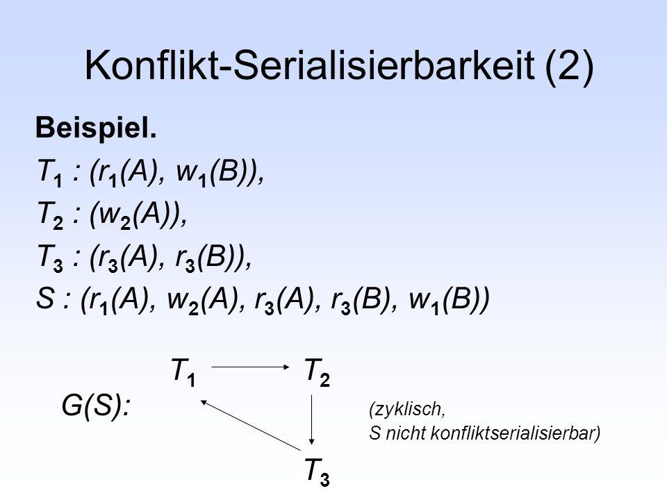 Konflikt-Serialisierbarkeit (2) Beispiel. T 1 : (r 1 (A), w 1 (B)), T 2 : (w 2 (A)), T 3 : (r 3 (A), r 3 (B)), S : (r 1 (A), w 2 (A), r 3 (A), r 3 (B)
