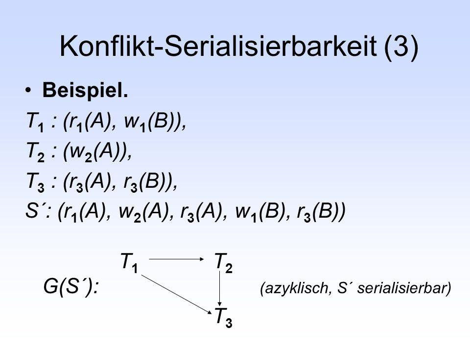 Konflikt-Serialisierbarkeit (3) Beispiel. T 1 : (r 1 (A), w 1 (B)), T 2 : (w 2 (A)), T 3 : (r 3 (A), r 3 (B)), S´: (r 1 (A), w 2 (A), r 3 (A), w 1 (B)