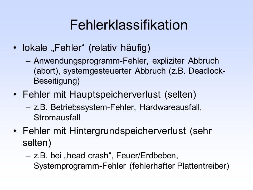 Fehlerklassifikation lokale Fehler (relativ häufig) –Anwendungsprogramm-Fehler, expliziter Abbruch (abort), systemgesteuerter Abbruch (z.B. Deadlock-