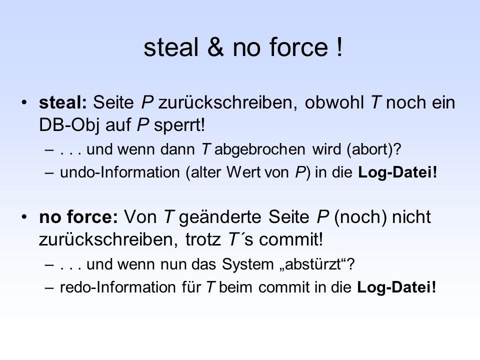 steal & no force ! steal: Seite P zurückschreiben, obwohl T noch ein DB-Obj auf P sperrt! –... und wenn dann T abgebrochen wird (abort)? –undo-Informa