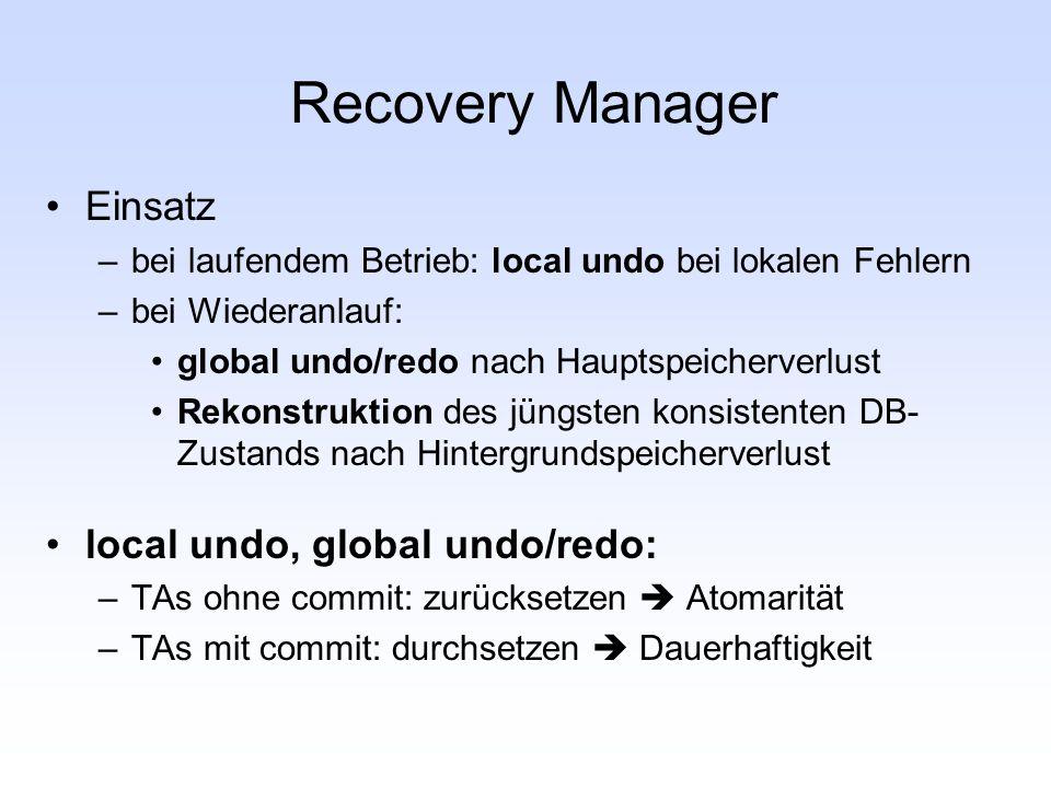 Recovery Manager Einsatz –bei laufendem Betrieb: local undo bei lokalen Fehlern –bei Wiederanlauf: global undo/redo nach Hauptspeicherverlust Rekonstr