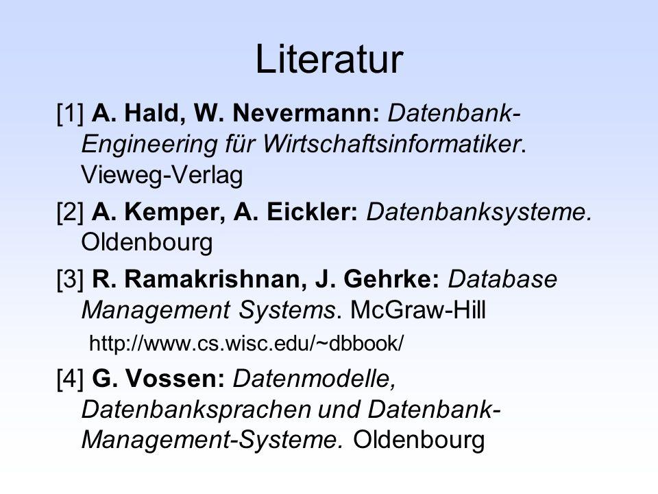 Literatur [1] A. Hald, W. Nevermann: Datenbank- Engineering für Wirtschaftsinformatiker. Vieweg-Verlag [2] A. Kemper, A. Eickler: Datenbanksysteme. Ol