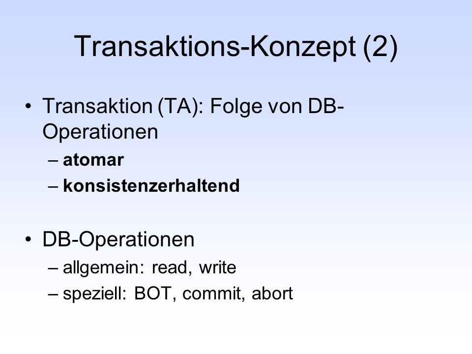 Transaktions-Konzept (2) Transaktion (TA): Folge von DB- Operationen –atomar –konsistenzerhaltend DB-Operationen –allgemein: read, write –speziell: BO