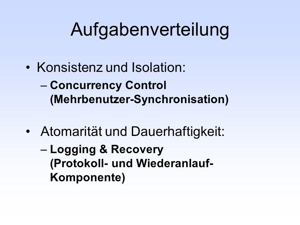 Aufgabenverteilung Konsistenz und Isolation: –Concurrency Control (Mehrbenutzer-Synchronisation) Atomarität und Dauerhaftigkeit: –Logging & Recovery (