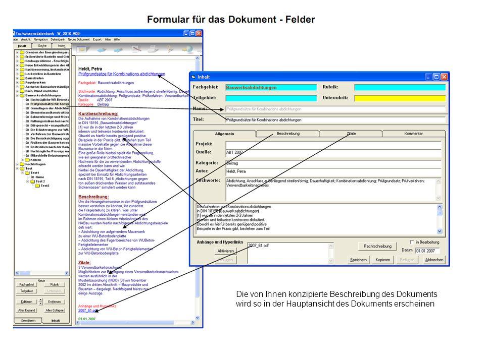 Die von Ihnen konzipierte Beschreibung des Dokuments wird so in der Hauptansicht des Dokuments erscheinen