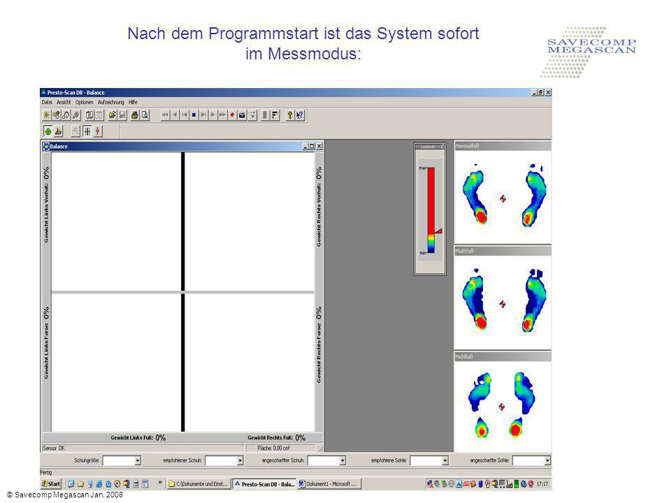 Nach dem Programmstart ist das System sofort im Messmodus: © Savecomp Megascan Jan. 2008