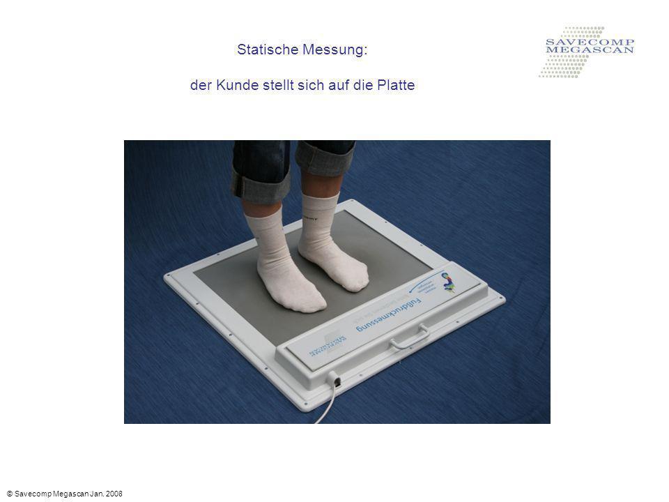 Statische Messung: der Kunde stellt sich auf die Platte © Savecomp Megascan Jan. 2008
