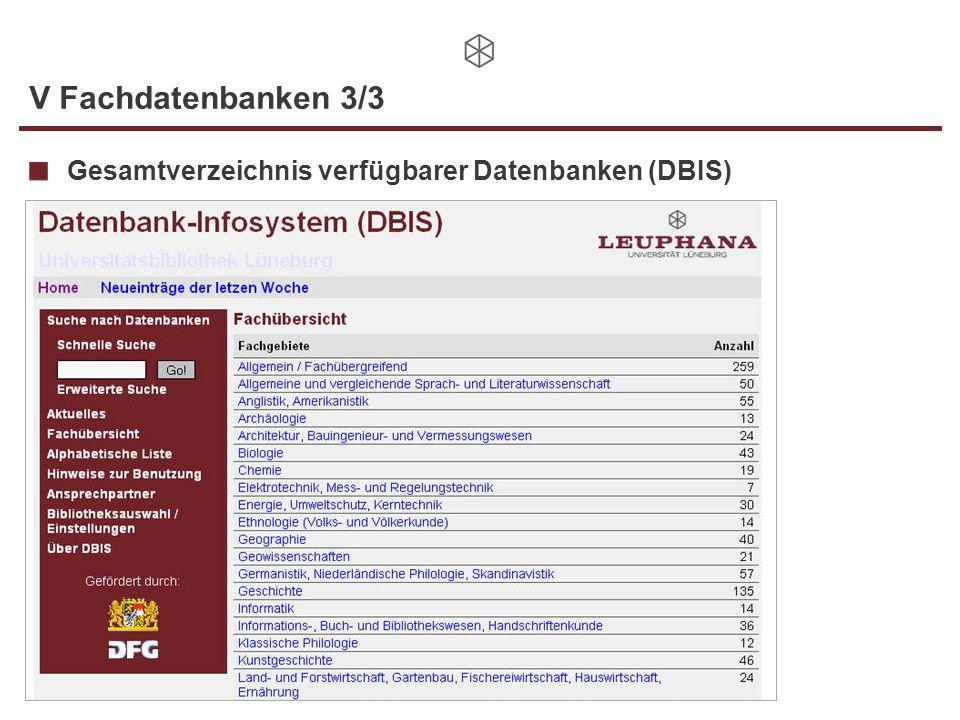 V Fachdatenbanken 3/3 Gesamtverzeichnis verfügbarer Datenbanken (DBIS)