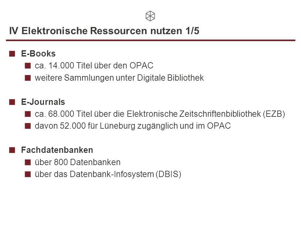 IV Elektronische Ressourcen nutzen 2/5 E-Book-Beispiel in unserem Katalog: