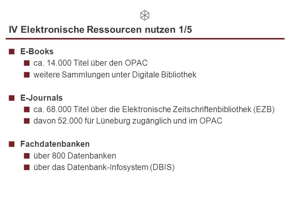 IV Elektronische Ressourcen nutzen 1/5 E-Books ca.