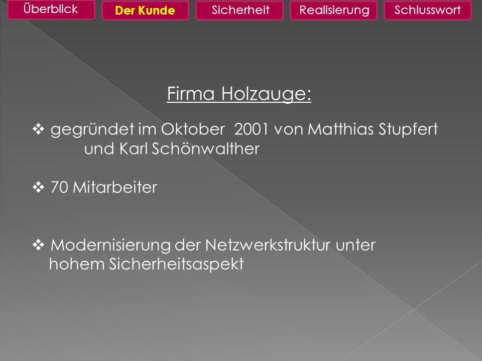 Firma Holzauge: gegründet im Oktober 2001 von Matthias Stupfert und Karl Schönwalther 70 Mitarbeiter Modernisierung der Netzwerkstruktur unter hohem Sicherheitsaspekt Überblick RealisierungSchlusswortSicherheit FaktenDer Kunde