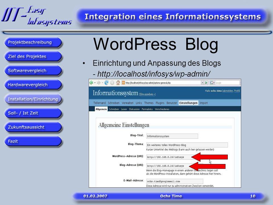 WordPress Blog Einrichtung und Anpassung des Blogs - http://localhost/infosys/wp-admin/