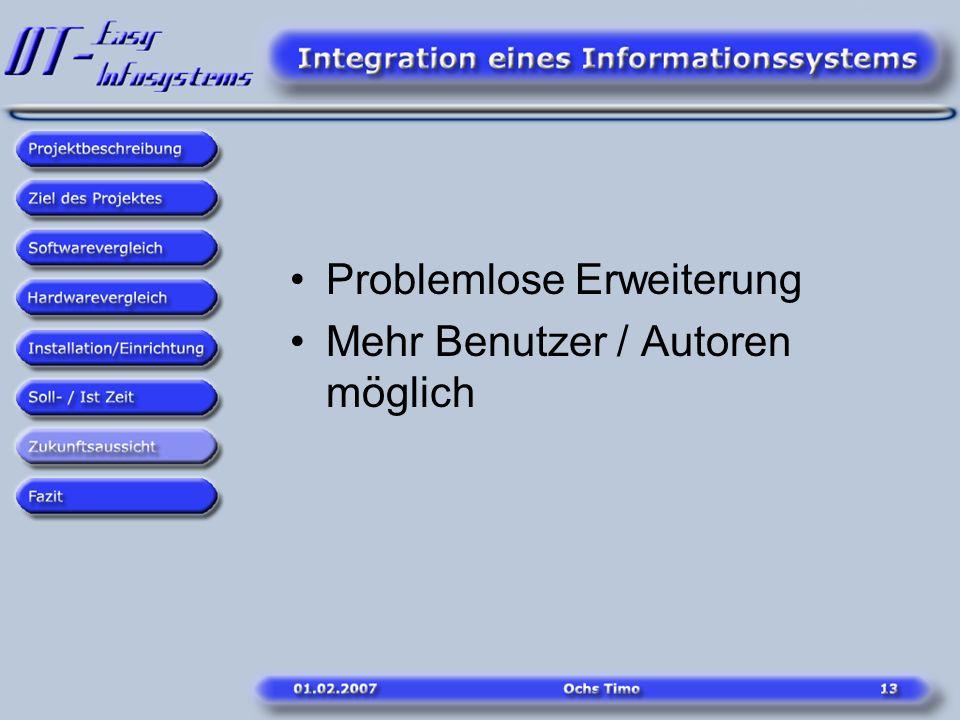 Problemlose Erweiterung Mehr Benutzer / Autoren möglich