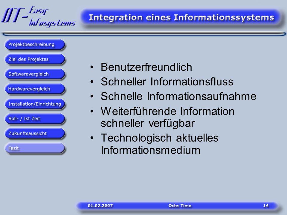 Benutzerfreundlich Schneller Informationsfluss Schnelle Informationsaufnahme Weiterführende Information schneller verfügbar Technologisch aktuelles In