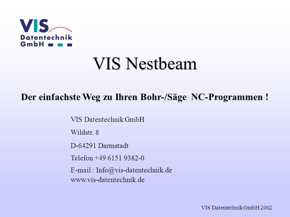 VIS Datentechnik GmbH 2002 VIS Nestbeam Der einfachste Weg zu Ihren Bohr-/Säge NC-Programmen ! VIS Datentechnik GmbH Wildstr. 8 D-64291 Darmstadt Tele