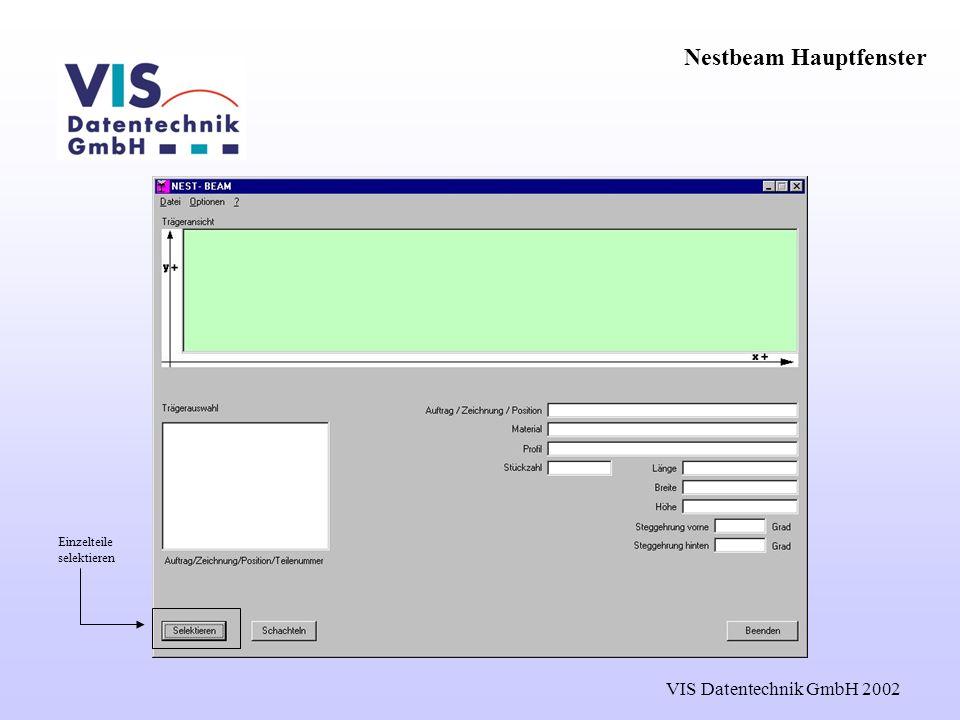 VIS Datentechnik GmbH 2002 Nestbeam Hauptfenster Einzelteile selektieren