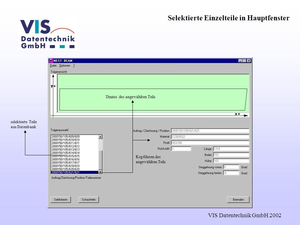 VIS Datentechnik GmbH 2002 Selektierte Einzelteile in Hauptfenster selektierte Teile aus Datenbank Kopfdaten des angewählten Teils Umriss des angewählten Teils