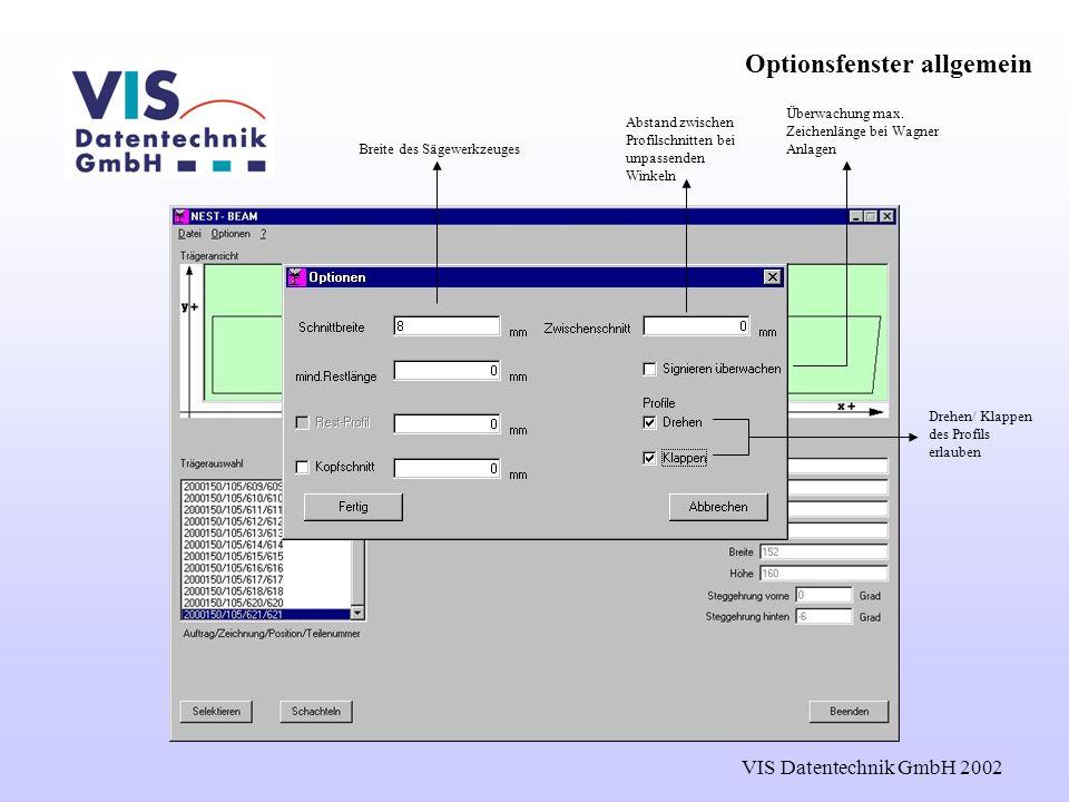 VIS Datentechnik GmbH 2002 Optionsfenster allgemein Drehen/ Klappen des Profils erlauben Breite des Sägewerkzeuges Überwachung max.