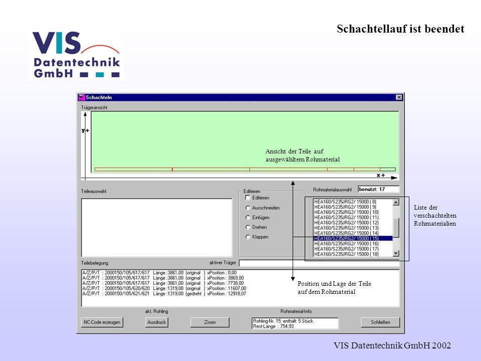 VIS Datentechnik GmbH 2002 Schachtellauf ist beendet Liste der verschachtelten Rohmaterialien Ansicht der Teile auf ausgewähltem Rohmaterial Position und Lage der Teile auf dem Rohmaterial
