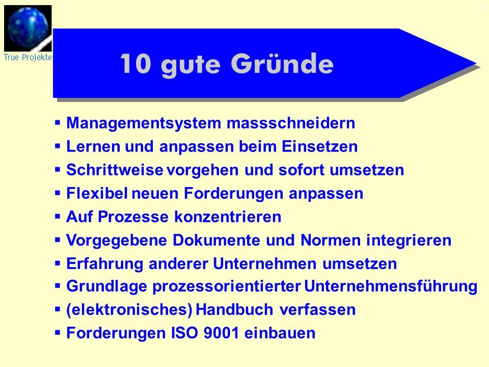 True Projekte 7 10 gute Gründe Managementsystem massschneidern Lernen und anpassen beim Einsetzen Schrittweise vorgehen und sofort umsetzen Flexibel n