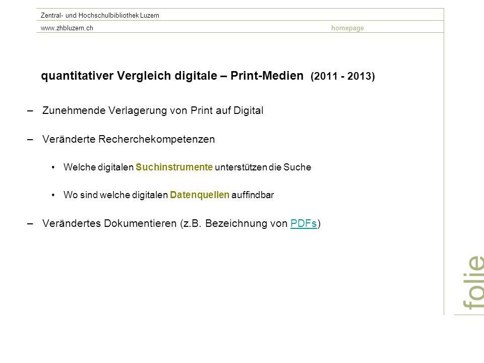 quantitativer Vergleich digitale – Print-Medien (2011 - 2013) –Zunehmende Verlagerung von Print auf Digital –Veränderte Recherchekompetenzen Welche di