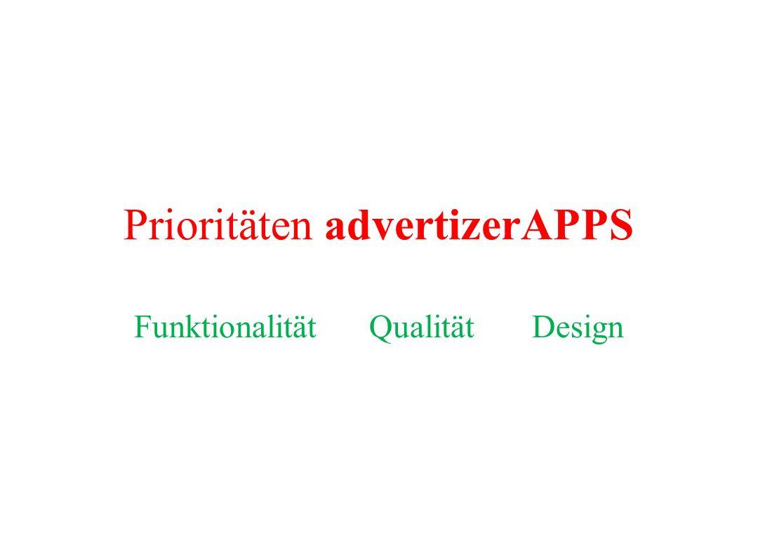 Prioritäten advertizerAPPS Funktionalität Qualität Design