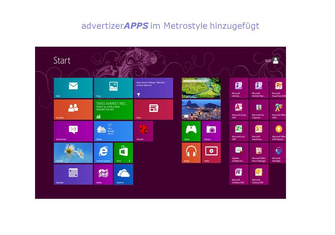 advertizerAPPS im Metrostyle hinzugefügt
