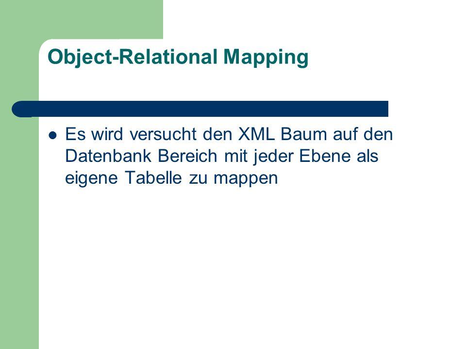 Object-Relational Mapping Es wird versucht den XML Baum auf den Datenbank Bereich mit jeder Ebene als eigene Tabelle zu mappen
