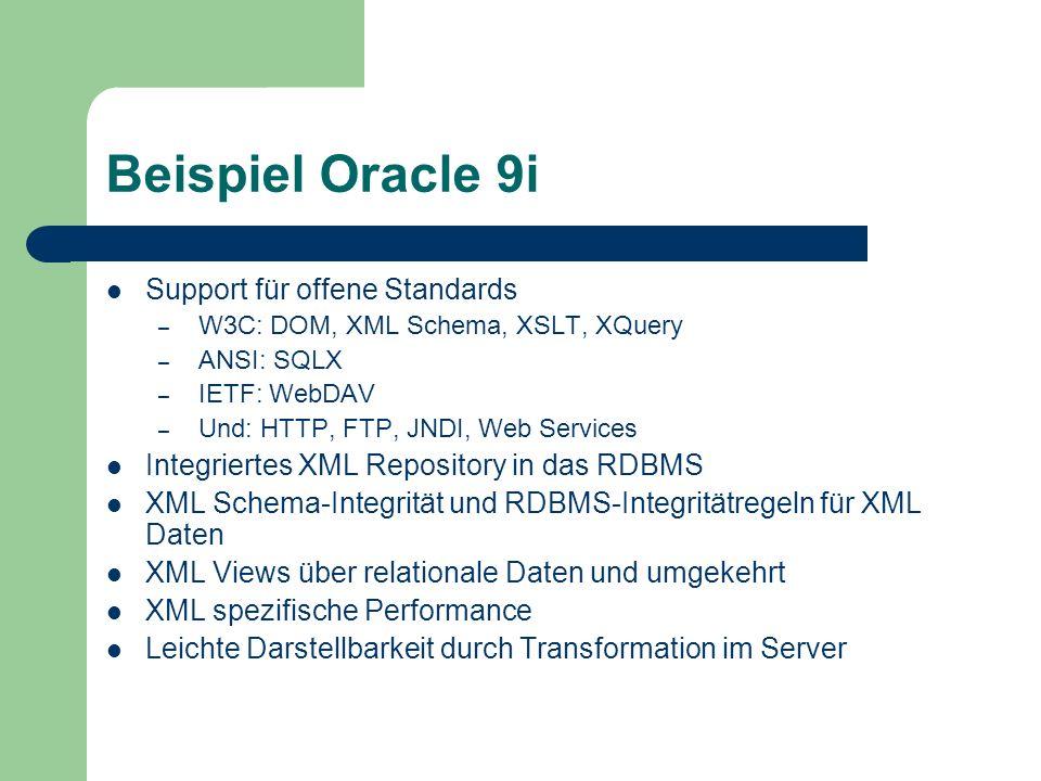 Beispiel Oracle 9i Support für offene Standards – W3C: DOM, XML Schema, XSLT, XQuery – ANSI: SQLX – IETF: WebDAV – Und: HTTP, FTP, JNDI, Web Services Integriertes XML Repository in das RDBMS XML Schema-Integrität und RDBMS-Integritätregeln für XML Daten XML Views über relationale Daten und umgekehrt XML spezifische Performance Leichte Darstellbarkeit durch Transformation im Server