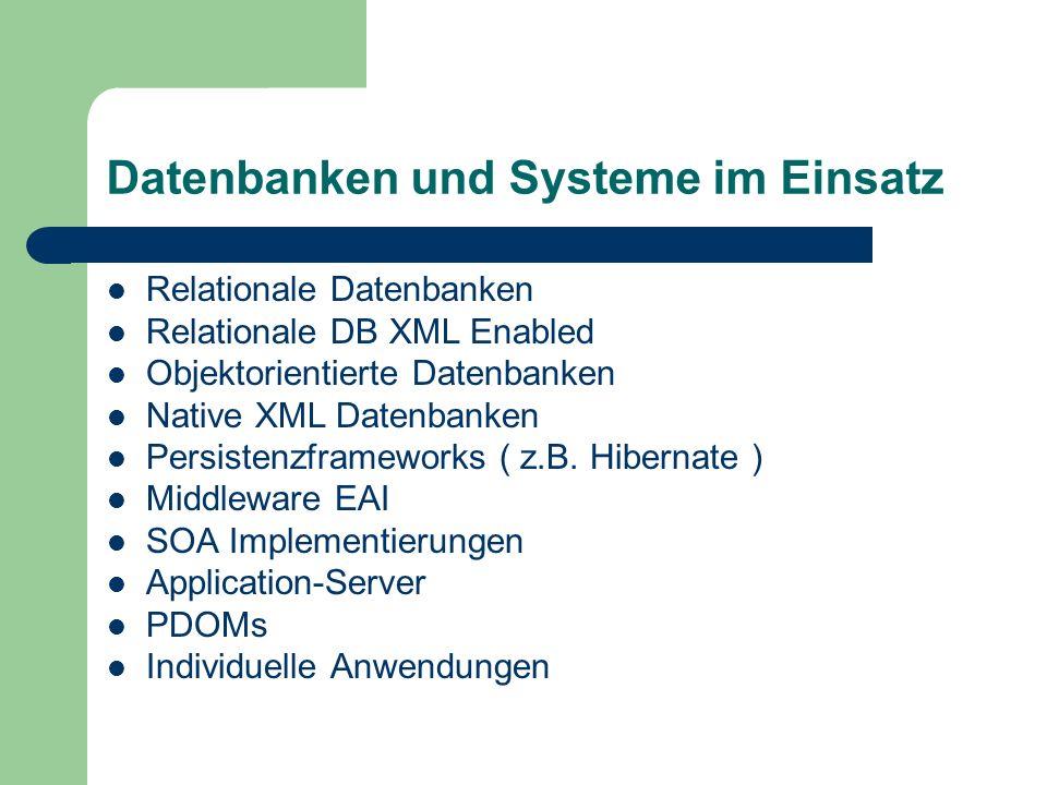 Datenbanken und Systeme im Einsatz Relationale Datenbanken Relationale DB XML Enabled Objektorientierte Datenbanken Native XML Datenbanken Persistenzf