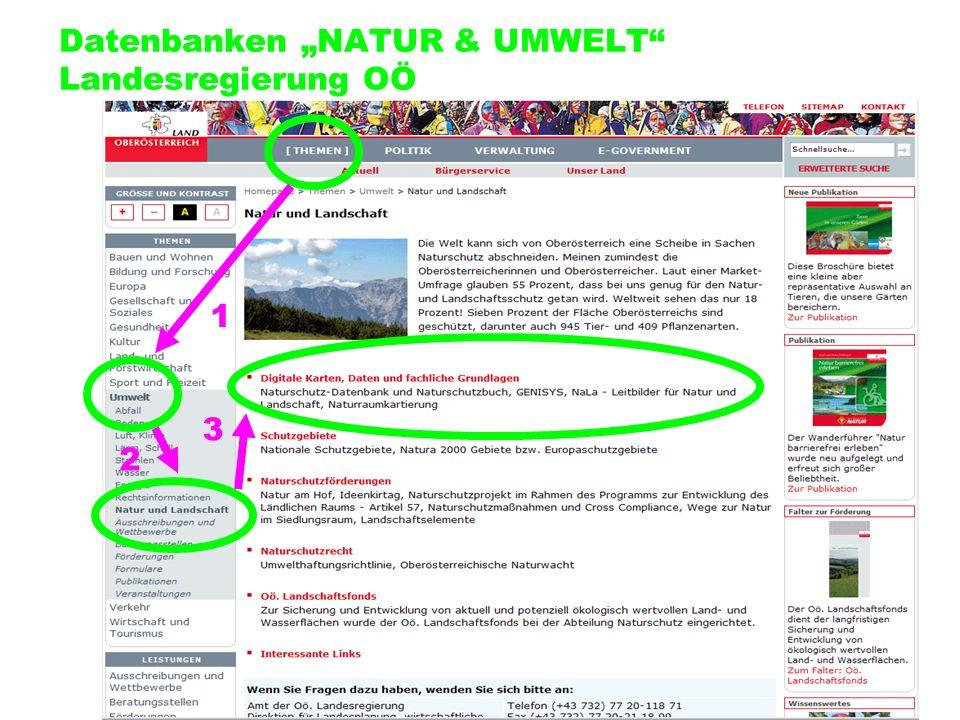 Datenbanken NATUR & UMWELT Landesregierung OÖ 2 1 3