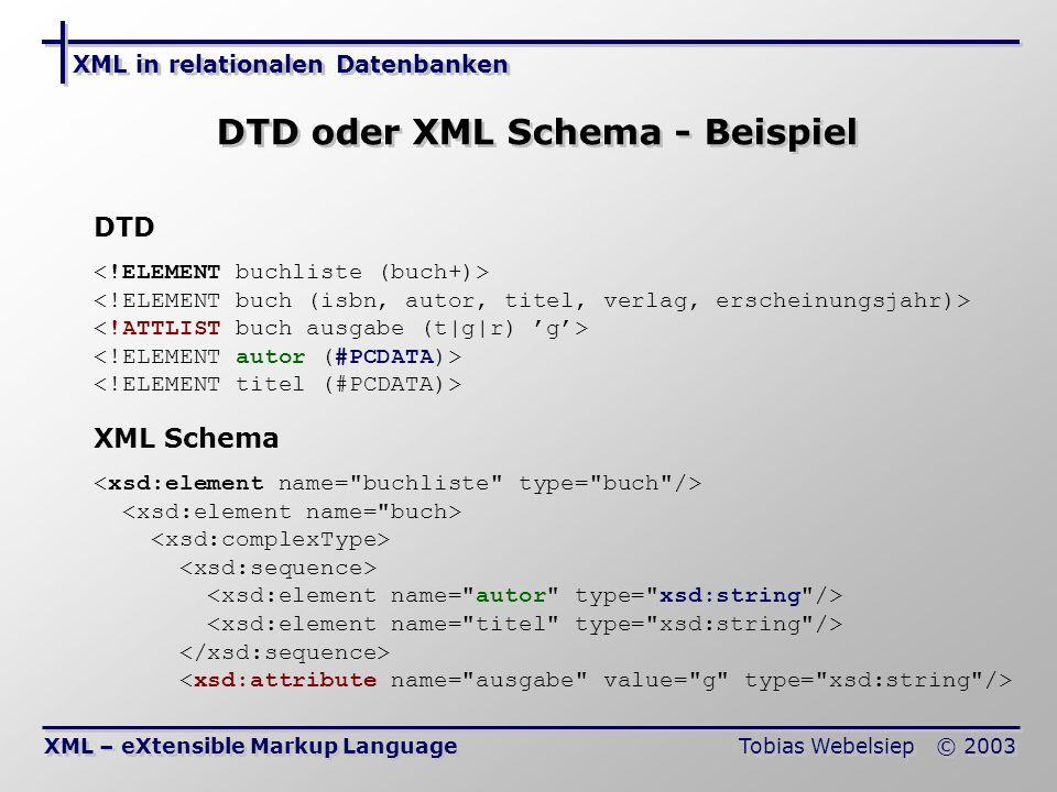 XML in relationalen Datenbanken Tobias Webelsiep © 2003 DTD oder XML Schema - Beispiel XML – eXtensible Markup Language DTD XML Schema