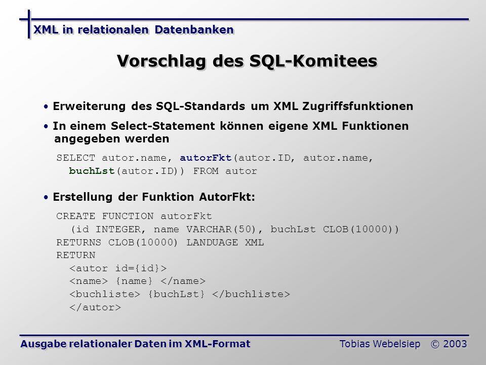 XML in relationalen Datenbanken Tobias Webelsiep © 2003 Vorschlag des SQL-Komitees Ausgabe relationaler Daten im XML-Format Erweiterung des SQL-Standards um XML Zugriffsfunktionen In einem Select-Statement können eigene XML Funktionen angegeben werden SELECT autor.name, autorFkt(autor.ID, autor.name, buchLst(autor.ID)) FROM autor Erstellung der Funktion AutorFkt: CREATE FUNCTION autorFkt (id INTEGER, name VARCHAR(50), buchLst CLOB(10000)) RETURNS CLOB(10000) LANDUAGE XML RETURN {name} {buchLst}